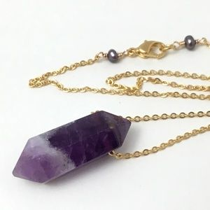Artisan Amethyst Double Point Crystal Necklace